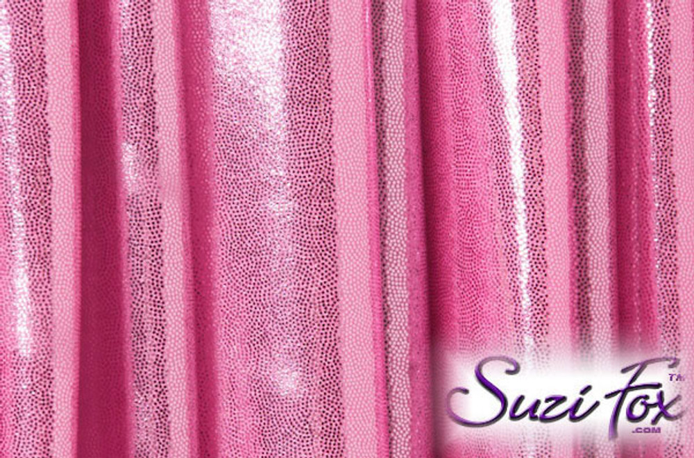 Baby Pink Metallic Mystique Fabric. (per yard price if you want to buy extra is $25 per yard) 80% Nylon, 20% Spandex. Available in black, red, turquoise, green, purple, royal blue, hot pink/fuchsia, baby pink, baby blue, silver, copper, gold Metallic Mystique spandex. This is a 4-way stretch fabric with tiny metallic foil dots bonded to the spandex. Light, thin, airy, very comfortable! Glitters in the light!  Metallic will rub off if rubbed excessively. Hand wash inside out in cold water, line dry. Iron inside out on low heat. Do not bleach.