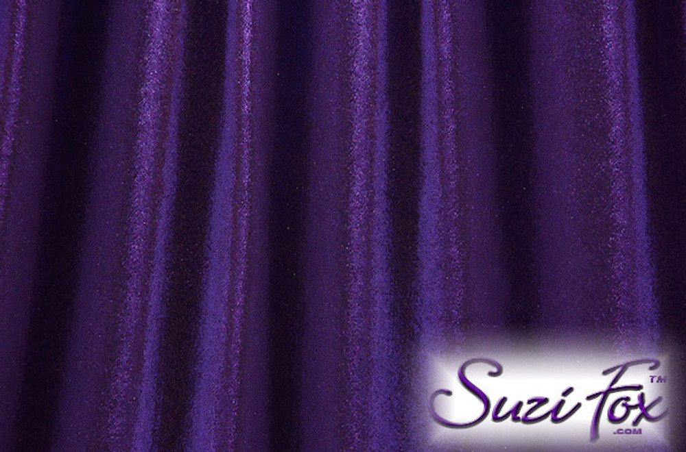 Purple Metallic Mystique Fabric. (per yard price if you want to buy extra is $25 per yard) 80% Nylon, 20% Spandex. Available in black, red, turquoise, green, purple, royal blue, hot pink/fuchsia, baby pink, baby blue, silver, copper, gold Metallic Mystique spandex. This is a 4-way stretch fabric with tiny metallic foil dots bonded to the spandex. Light, thin, airy, very comfortable! Glitters in the light!  Metallic will rub off if rubbed excessively. Hand wash inside out in cold water, line dry. Iron inside out on low heat. Do not bleach.