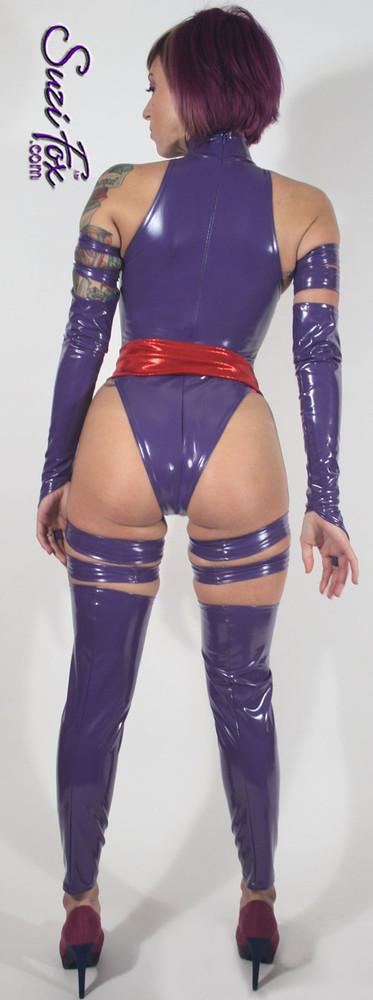 """Custom Psylocke Costume shown in gloss Purple Vinyl/PVC, custom made by Suzi Fox.  You can order this costume in almost any fabric on this site.  Costume includes 4 arm bands, 4 leg garters, bird finger gloves, red sash. • Available in gloss black, white, red, neon pink, light pink, fuchsia, purple, royal blue, navy blue, turquoise; matte (no shine) black, matte (no shine) white. This fabric is a 4-way stretch, vinyl/PVC coated spandex. • Optional Bust Cutout • Your choice of rears - French legs (Rio), Cheeky, Full, or Thong. • Optional 1 or 2-slider crotch zipper • Optional """"Selene"""" from Underworld TS zipper • Optional aluminum circular slider zipper like Catwoman comic characters. • Optional rear patch pockets • Made in the U.S.A."""