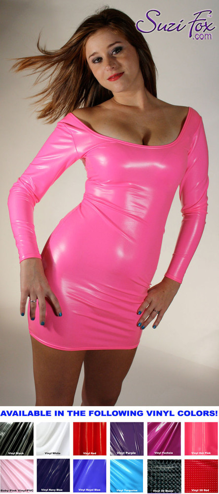 Scoop Neck, Long Sleeved Mini Dress in Neon Pink Shiny Gloss Vinyl/PVC Spandex, custom made by Suzi Fox. Choose any fabric on this site! Available in black, white, red, navy blue, royal blue, turquoise, purple, fuchsia, neon pink, light pink, matte black (no shine), matte white (no shine) stretch vinyl/PVC coated nylon spandex. • Optional wrist zippers. Made in the U.S.A.