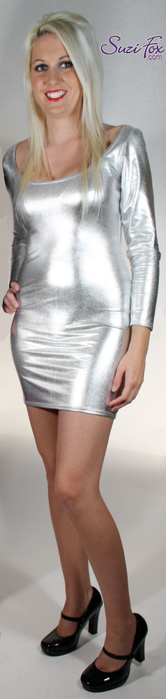 Scoop Neck, Long Sleeved Mini Dress in Silver Metallic Foil Spandex, custom made by Suzi Fox. Choose any fabric on this site! Custom made to your measurements. Available in gold, silver, copper, royal blue, purple, turquoise, red, green, fuchsia, gun metal, black metallic foil leather/rubber coated nylon spandex. • Optional wrist zippers. Made in the U.S.A.