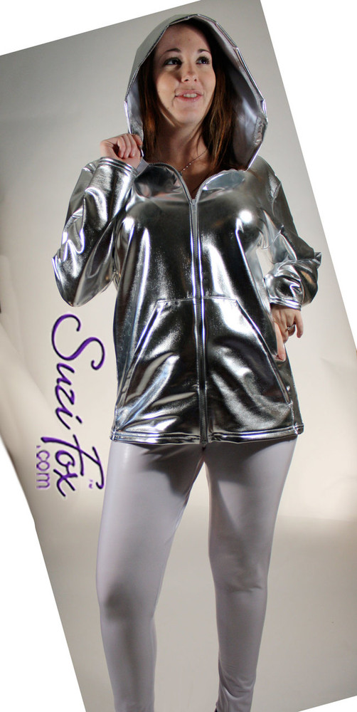 Womens Hoodie in Silver Metallic Foil coated Spandex, custom made by Suzi Fox.. Custom made to your measurements! Choose any fabric on this site! Available in gold, silver, copper, gunmetal, turquoise, Royal blue, red, green, purple, fuchsia, black faux leather/rubber. • Choose the zipper. • Optional wrist zippers. Made in the U.S.A.
