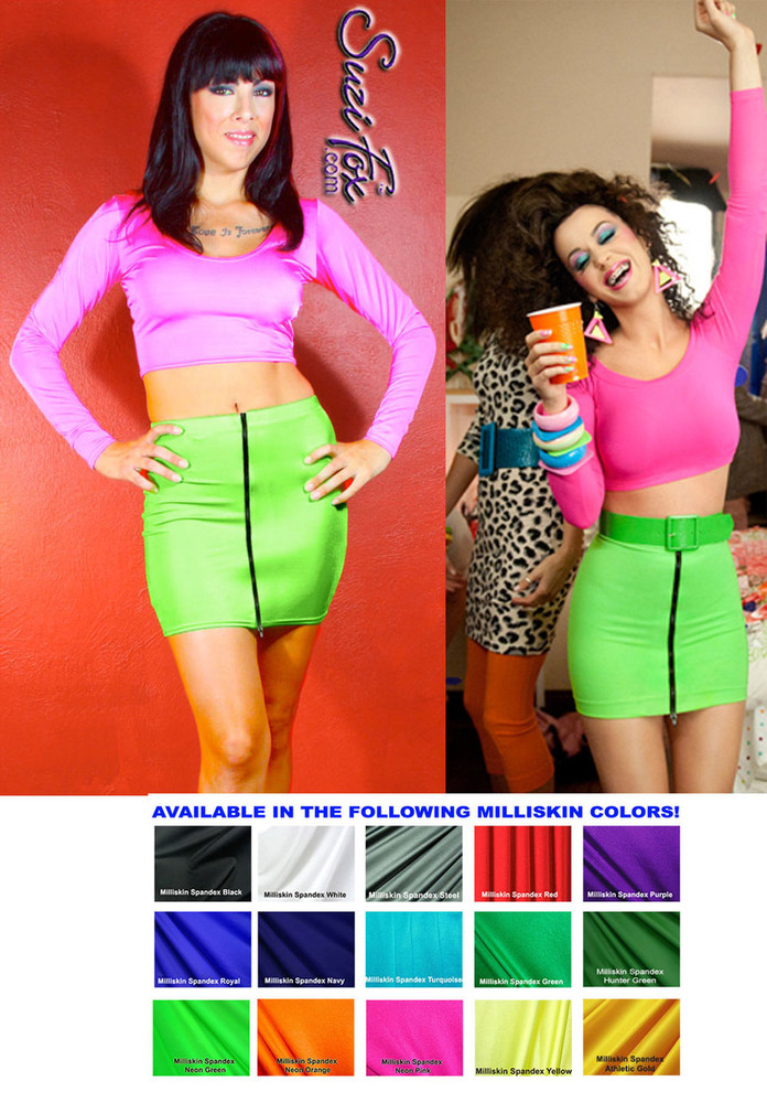 "Front Zipper Skirt shown in Neon Green Shiny Milliskin Tricot Spandex by Suzi Fox. Patterned after katy Perry's character, Kathy Beth Terry in ""Last Friday Night"" (T.G.I.F.). Custom made to your measurements! Available in black, white, red, royal blue, sky blue, turquoise, purple, green, neon green, hunter green, neon pink, neon orange, athletic gold, lemon yellow, steel gray Miilliskin Tricot spandex, and any fabric on this site. Made in the U.S.A."