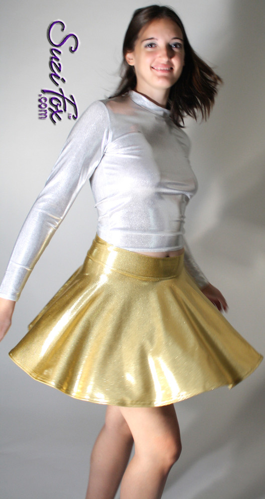 Circle Skirt shown in Gold Metallic Mystique, custom made by Suzi Fox. Custom made to your measurements! Available in black, red, turquoise, green, purple, royal blue, hot pink/fuchsia, silver, copper, gold Metallic Mystique spandex, and any other fabric on this site. Made in the U.S.A.