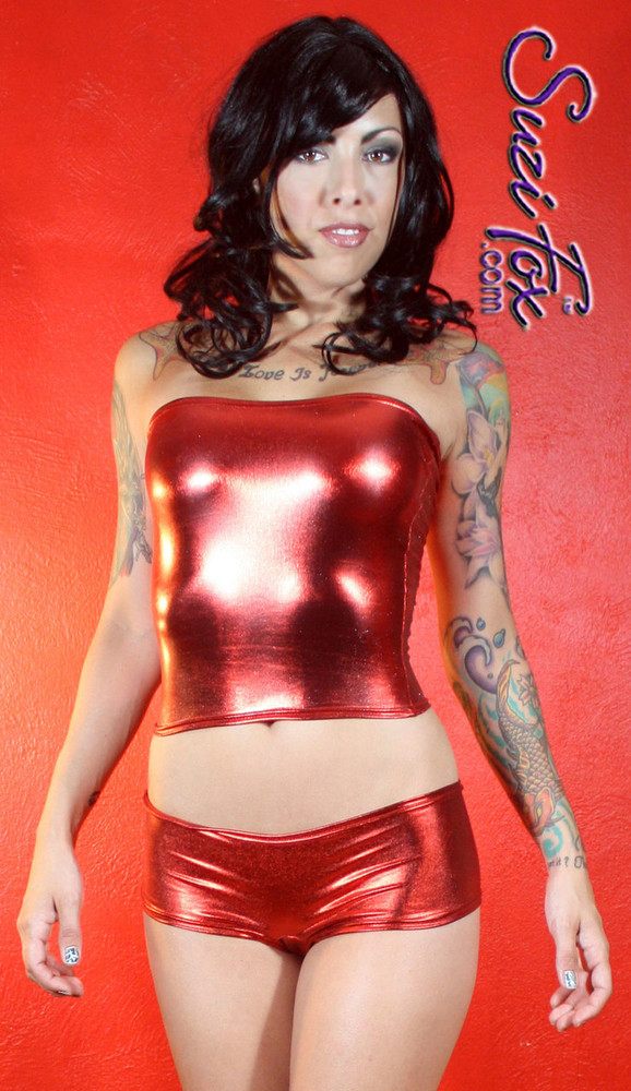 Cheeky Peeker Booty Shorts shown in Red Metallic Foil coated Spandex, custom made by Suzi Fox. Custom made to your measurements! Available in gold, silver, copper, gunmetal, turquoise, Royal blue, red, green, purple, fuchsia, black faux leather/rubber, and any other fabric on this site. Made in the U.S.A.