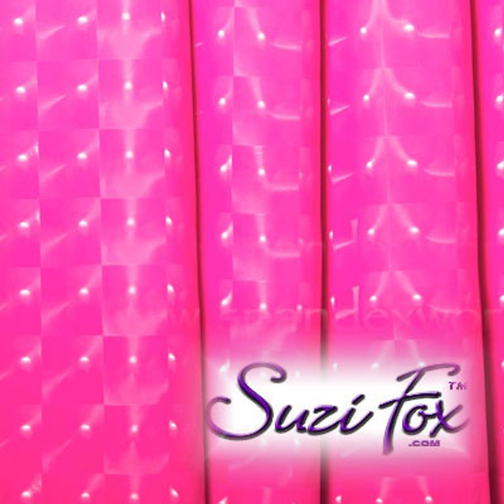 """Hot Pink 3D Prism Vinyl/PVC coated Spandex (per yard). Four Way Stretch. 80% Nylon, 20% Spandex.  Prism allows light to reflect from every angle! Polyurethane coated. Very glossy! This fabric is very tight, 4-way stretch with about a 2"""" stretch. It will hide minor cellulite and hold in small love handles. Vinyl will separate from backing if worn too tight or if rubbed excessively. If you like PVC, you will LOVE this fabric! It's also a great alternative to latex.  Available in black 3D Prism, red 3D Prism, Turquoise 3D Prism, Baby Blue 3D Prism, Hot Pink 3D Prism; gloss black, white, red, navy blue, royal blue, turquoise, purple, Neon Pink, fuchsia, light pink, matte black (no shine), matte white (no shine).  Hand wash inside out in cold water, line dry. Iron inside out on low heat. Do not bleach."""