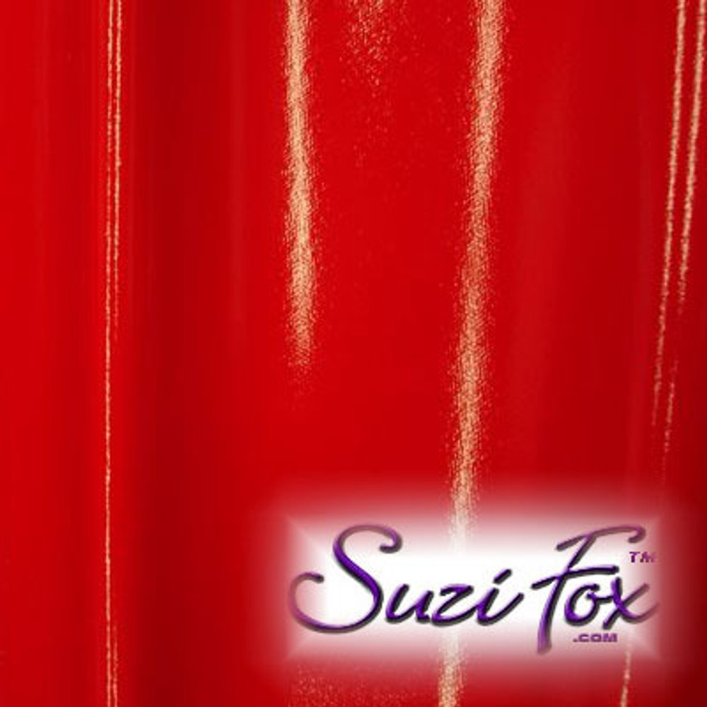 "Red Gloss Vinyl/PVC.  Four Way Stretch. 80% Nylon, 20% Spandex.  Polyurethane coated. Very glossy! This fabric is very tight, 4-way stretch with about a 2"" stretch. It will hide minor cellulite and hold in small love handles. Vinyl will separate from backing if worn too tight or if rubbed excessively. If you like PVC, you will LOVE this fabric! It's also a great alternative to latex.   Available in black, white, red, navy blue, royal blue, turquoise, purple, Neon Pink, fuchsia, light pink, matte black (no shine), matte white (no shine), black 3D Prism, red 3D Prism, Turquoise 3D Prism, Baby Blue 3D Prism, Hot Pink 3D Prism.  Hand wash inside out in cold water, line dry. Iron inside out on low heat. Do not bleach."