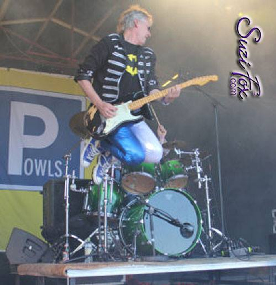 Steen Nielsen in the band The Powl in Denmark, wearing Suzi Fox two-tone pants in blue and silver metallic mystique.