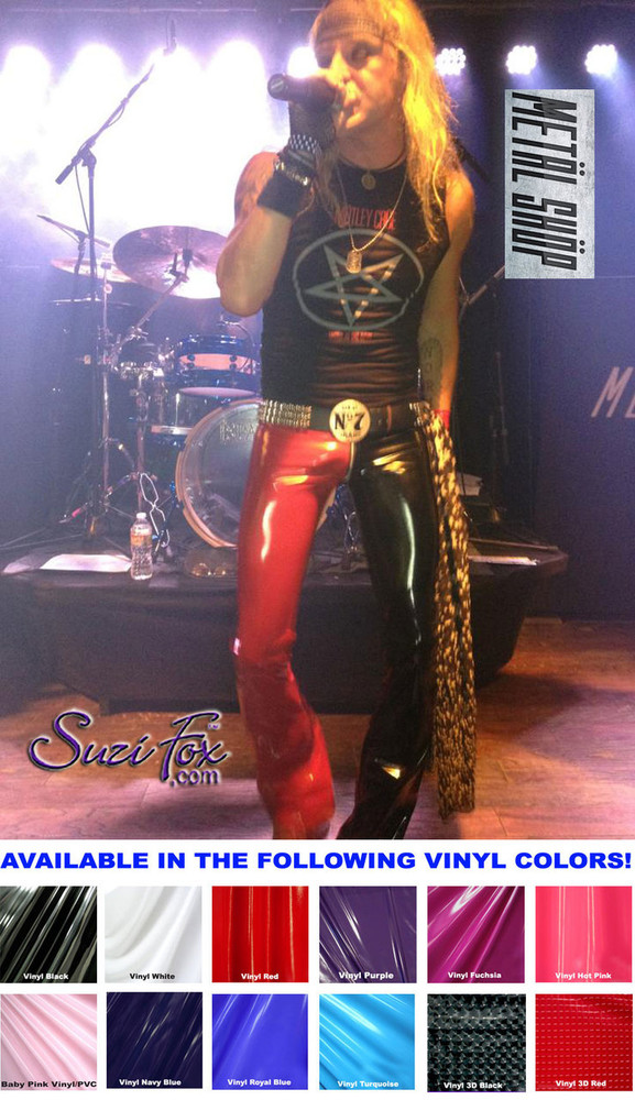 Mens two tone Low Rise Boot Cut Pants shown in Gloss Black & Red Vinyl/PVC Spandex, custom made by Suzi Fox. Custom made to your measurements! • shown with optional 1 slider front zipper. • Available in black, white, red, navy blue, royal blue, turquoise, purple, Neon Pink, fuchsia, light pink, matte black (no shine), matte white (no shine), black 3D Prism, red 3D Prism, Turquoise 3D Prism, Baby Blue 3D Prism, Hot Pink 3D Prism Vinyl and any fabric on this site. • 1 inch no-roll elastic at the waist. • Optional 1 or 2-slider crotch zipper. • Choose your ankle size - tight ankles, jean cut, boot cut, or bellbottom. • Optional ankle zippers. • Optional belt loops. • Optional rear patch pockets. Made in the U.S.A. Photo of Michael Diamond of the band Metal Shop Dallas.