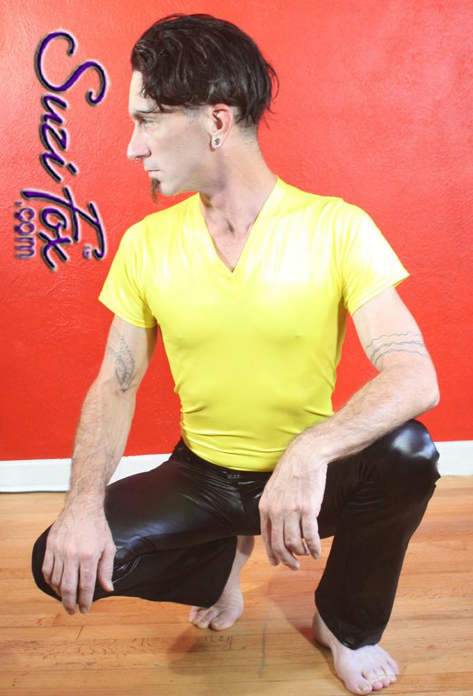 Mens V Neck Tee Shirt shown in Yellow Wetlook Lycra Spandex, custom made by Suzi Fox. • Available in black, white, red, turquoise, navy blue, royal blue, hot pink, lime green, green, yellow, steel gray, neon orange Wet Look, and any fabric on this site. • Choose your sleeve length. • Give us your measurements for a custom fit! • Standard length is 24 inches (61 cm) for sizes XXXS-Medium; 27 inches (68.6 cm) for sizes Large and up. • Optional add extra length to the shirt. • Made in the U.S.A.