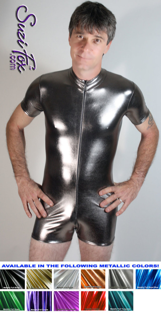 Mens Romper shown in Gunmetal Metallic Foil Spandex, custom made by Suzi Fox. • Available in gold, silver, copper, gunmetal, turquoise, Royal blue, red, green, purple, fuchsia, black faux leather/rubber Metallic Foil, and any fabric on this site. • Your choice of front or back zipper (front zipper shown). • Optional 1 or 2-slider crotch zipper. • Optional long sleeves. • Optional wrist zippers • Optional finger loops • Made in the U.S.A.