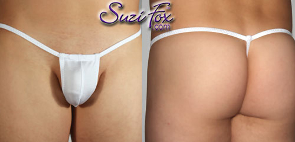 Men's Adjustable Pouch, G-String thong, shown in White Wet Look Lycra Spandex, custom made by Suzi Fox . • Available in black, white, red, navy blue, royal blue, hot pink, lime green, green, yellow, neon orange, turquoise, steel gray Wetlook or any fabric on this site. • Standard front height is 5 inches (12.7 cm) tall. • Available in 4, 5, 6, 7, 8, 9, and 10 inch front heights. • Choose your pouch size! Made in the U.S.A.