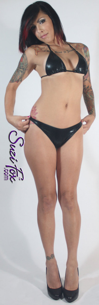 Womens Brazilian (3/4 rear coverage) Swim Suit bottom shown in Black Faux Leather Metallic Spandex, custom made by Suzi Fox • Custom made to your measurements. • Available in gold, silver, copper, gunmetal, turquoise, Royal blue, red, green, purple, fuchsia, black faux leather/rubber Metallic Foil, and any fabric on this site. • Top sold separately. (T1 String top top shown) • Made in the U.S.A.