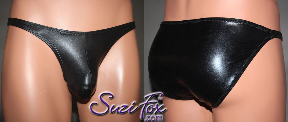 Mens Pouch Front, Wide Strap, Brazilian Bikini - shown in Black Faux Leather Metallic Foil Spandex, custom made by Suzi Fox. • Available in gold, silver, copper, gunmetal, turquoise, Royal blue, red, green, purple, fuchsia, black faux leather/rubber Metallic Foil or any fabric on this site. • Standard front height is 7 inches (17.8 cm). • Available in 4, 5, 6, 7, 8, 9, and 10 inch front heights. • Wear it as swimwear OR underwear! • Made in the U.S.A.