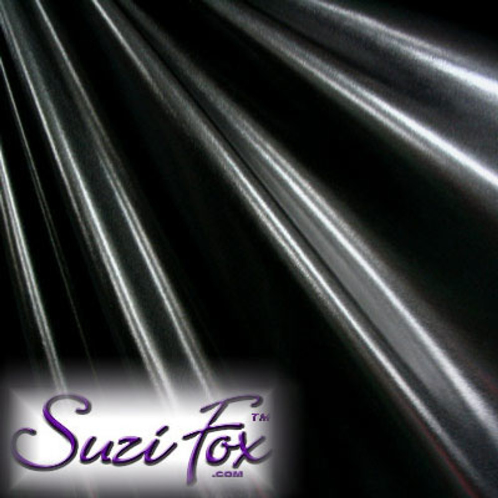 Fabric 4005. Black Metallic Foil Coated Four Way Stretch Nylon Spandex. 80% Nylon, 20% Spandex. This is a 4-way stretch fabric. Black looks like faux leather or rubber.  Available in gold, silver, copper, gunmetal, turquoise, Royal blue, red, green, purple, fuchsia, black faux leather/rubber Metallic Foil.   Metallic will rub off if rubbed excessively. Foil will separate from spandex backing if worn too tight. Hand wash inside out in cold water, line dry. Iron inside out on low heat. Do not bleach.
