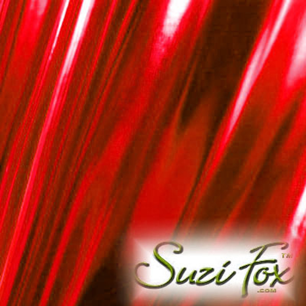 Fabric 3009. Red Metallic Foil Coated Four Way Stretch Nylon Spandex. 80% Nylon, 20% Spandex. This is a 4-way stretch fabric that looks like red aluminum foil but is stretchy! Black looks like faux leather or rubber.  Available in gold, silver, copper, gunmetal, turquoise, Royal blue, red, green, purple, fuchsia, black faux leather/rubber Metallic Foil.   Metallic will rub off if rubbed excessively. Foil will separate from spandex backing if worn too tight. Hand wash inside out in cold water, line dry. Iron inside out on low heat. Do not bleach.