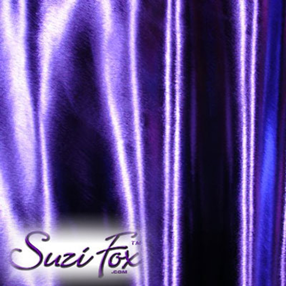 Fabric 3012. Purple Metallic Foil Coated Four Way Stretch Nylon Spandex. 80% Nylon, 20% Spandex. This is a 4-way stretch fabric that looks like purple aluminum foil but is stretchy! Black looks like faux leather or rubber.  Available in gold, silver, copper, gunmetal, turquoise, Royal blue, red, green, purple, fuchsia, black faux leather/rubber Metallic Foil.   Metallic will rub off if rubbed excessively. Foil will separate from spandex backing if worn too tight. Hand wash inside out in cold water, line dry. Iron inside out on low heat. Do not bleach.