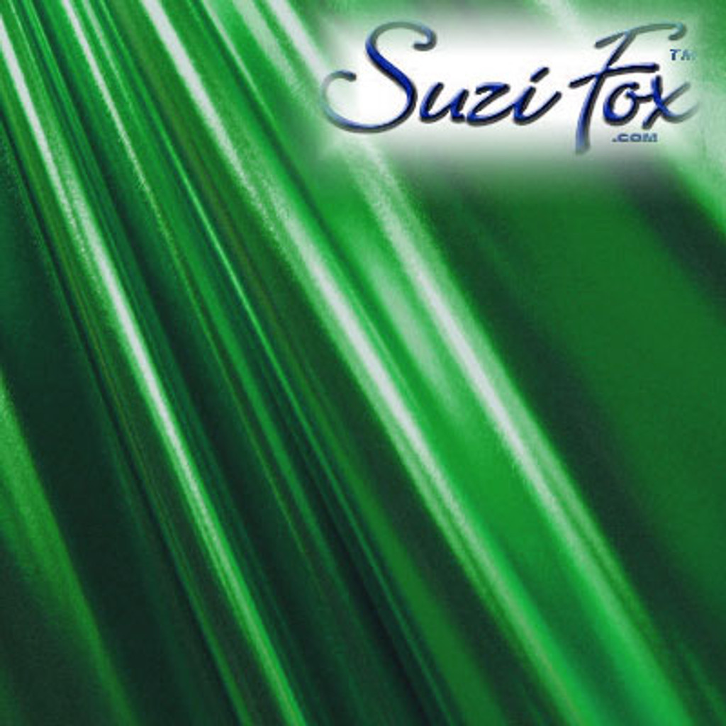 Fabric 3013. Green Metallic Foil Coated Four Way Stretch Nylon Spandex. 80% Nylon, 20% Spandex. This is a 4-way stretch fabric that looks like green aluminum foil but is stretchy! Black looks like faux leather or rubber.  Available in gold, silver, copper, gunmetal, turquoise, Royal blue, red, green, purple, fuchsia, black faux leather/rubber Metallic Foil.   Metallic will rub off if rubbed excessively. Foil will separate from spandex backing if worn too tight. Hand wash inside out in cold water, line dry. Iron inside out on low heat. Do not bleach.