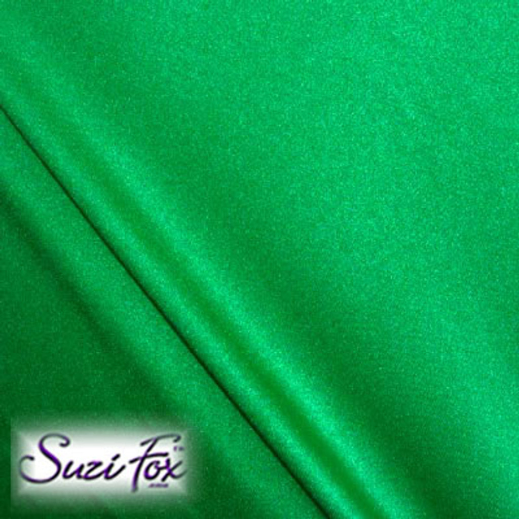Fabric #1945 - Green Milliskin Tricot Spandex. Four Way Stretch Nylon Spandex (per yard price if you want to buy extra is $25 per yard) 80% Nylon, 20% Spandex,  Available in black, white, red, royal blue, sky blue, turquoise, purple, green, neon green, hunter green, neon pink, neon orange, athletic gold, lemon yellow, steel gray Miilliskin Tricot spandex.  This is a 4-way extreme stretch fabric with a slight shine. Light, airy, thin, and very comfortable! Lighter colors might be slightly see through when wet.  Hand wash inside out in cold water, line dry. Iron inside out on low heat. Do not bleach.
