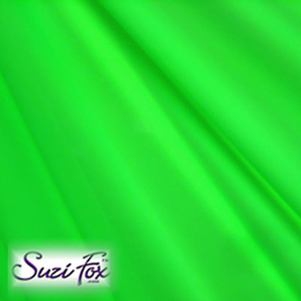 Fabric #1945 - Neon Green Milliskin Tricot Spandex. (glows under black light!)  Four Way Stretch Nylon Spandex (per yard price if you want to buy extra is $25 per yard) 80% Nylon, 20% Spandex,  Available in black, white, red, royal blue, sky blue, turquoise, purple, green, neon green, hunter green, neon pink, neon orange, athletic gold, lemon yellow, steel gray Miilliskin Tricot spandex.  This is a 4-way extreme stretch fabric with a slight shine. Light, airy, thin, and very comfortable! Lighter colors might be slightly see through when wet.  Hand wash inside out in cold water, line dry. Iron inside out on low heat. Do not bleach.