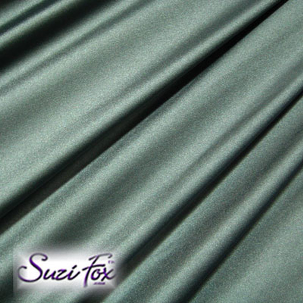 Fabric #1964 - Steel Gray Milliskin Tricot Spandex. Four Way Stretch Nylon Spandex (per yard price if you want to buy extra is $25 per yard) 80% Nylon, 20% Spandex,  Available in black, white, red, royal blue, sky blue, turquoise, purple, green, neon green, hunter green, neon pink, neon orange, athletic gold, lemon yellow, steel gray Miilliskin Tricot spandex.  This is a 4-way extreme stretch fabric with a slight shine. Light, airy, thin, and very comfortable! Lighter colors might be slightly see through when wet.  Hand wash inside out in cold water, line dry. Iron inside out on low heat. Do not bleach.