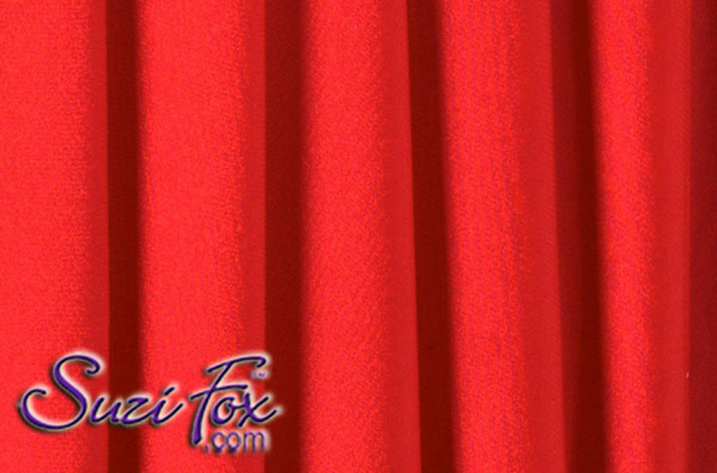 Fabric #1968 - Red Milliskin Tricot Spandex. Four Way Stretch Nylon Spandex (per yard price if you want to buy extra is $25 per yard) 80% Nylon, 20% Spandex,  Available in black, white, red, royal blue, sky blue, turquoise, purple, green, neon green, hunter green, neon pink, neon orange, athletic gold, lemon yellow, steel gray Miilliskin Tricot spandex.  This is a 4-way extreme stretch fabric with a slight shine. Light, airy, thin, and very comfortable! Lighter colors might be slightly see through when wet.  Hand wash inside out in cold water, line dry. Iron inside out on low heat. Do not bleach.