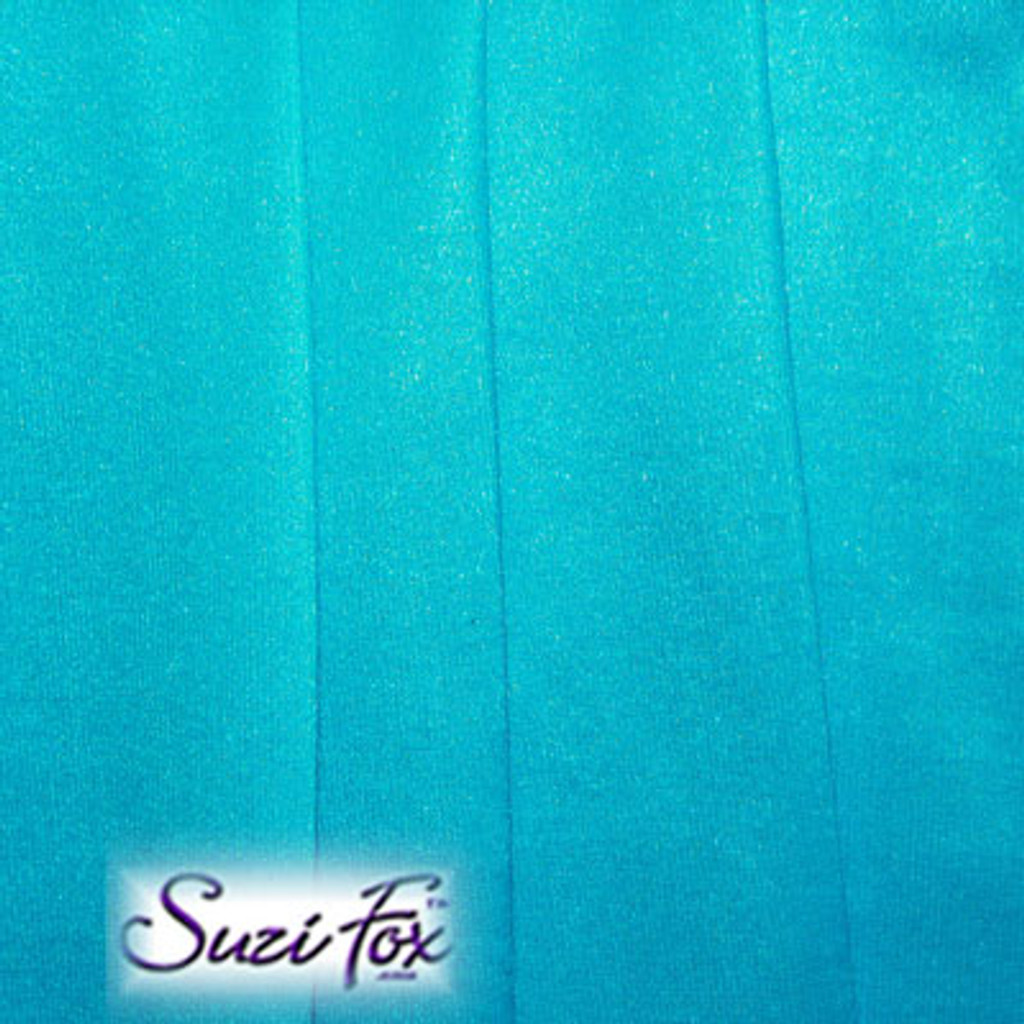 Fabric #1932 - Turquoise Blue Milliskin Tricot Spandex. Four Way Stretch Nylon Spandex (per yard price if you want to buy extra is $25 per yard) 80% Nylon, 20% Spandex,  Available in black, white, red, royal blue, sky blue, turquoise, purple, green, neon green, hunter green, neon pink, neon orange, athletic gold, lemon yellow, steel gray Miilliskin Tricot spandex.  This is a 4-way extreme stretch fabric with a slight shine. Light, airy, thin, and very comfortable! Lighter colors might be slightly see through when wet.  Hand wash inside out in cold water, line dry. Iron inside out on low heat. Do not bleach.