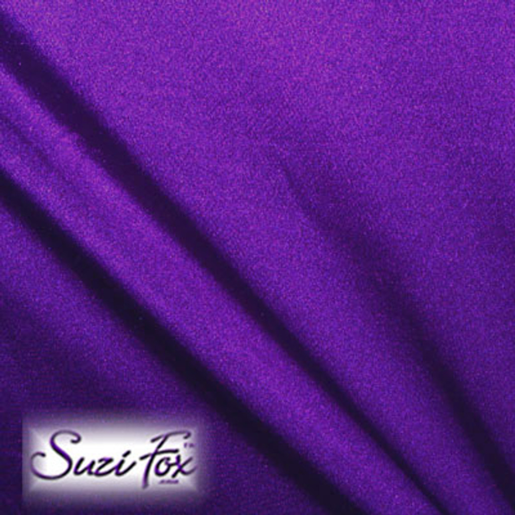 Fabric #1950 - Purple Milliskin Tricot Spandex. Four Way Stretch Nylon Spandex (per yard price if you want to buy extra is $25 per yard) 80% Nylon, 20% Spandex,  Available in black, white, red, royal blue, sky blue, turquoise, purple, green, neon green, hunter green, neon pink, neon orange, athletic gold, lemon yellow, steel gray Miilliskin Tricot spandex.  This is a 4-way extreme stretch fabric with a slight shine. Light, airy, thin, and very comfortable! Lighter colors might be slightly see through when wet.  Hand wash inside out in cold water, line dry. Iron inside out on low heat. Do not bleach.