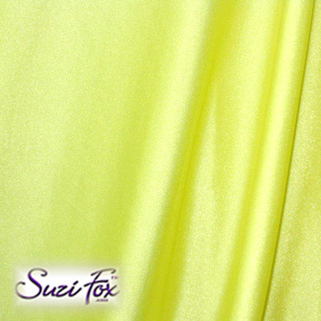 Fabric #1910 - Yellow Milliskin Tricot Spandex.  Four Way Stretch Nylon Spandex (per yard price if you want to buy extra is $25 per yard) 80% Nylon, 20% Spandex,  Available in black, white, red, royal blue, sky blue, turquoise, purple, green, neon green, hunter green, neon pink, neon orange, athletic gold, lemon yellow, steel gray Miilliskin Tricot spandex.  This is a 4-way extreme stretch fabric with a slight shine. Light, airy, thin, and very comfortable! Lighter colors might be slightly see through when wet.  Hand wash inside out in cold water, line dry. Iron inside out on low heat. Do not bleach.