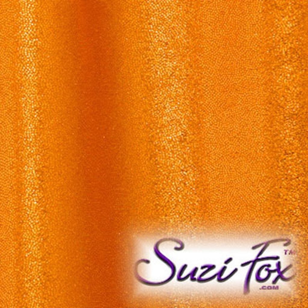 Copper Metallic Mystique Fabric. (per yard price if you want to buy extra is $25 per yard) 80% Nylon, 20% Spandex. Available in black, red, turquoise, green, purple, royal blue, hot pink/fuchsia, baby pink, baby blue, silver, copper, gold Metallic Mystique spandex. This is a 4-way stretch fabric with tiny metallic foil dots bonded to the spandex. Light, thin, airy, very comfortable! Glitters in the light!  Metallic will rub off if rubbed excessively. Hand wash inside out in cold water, line dry. Iron inside out on low heat. Do not bleach.