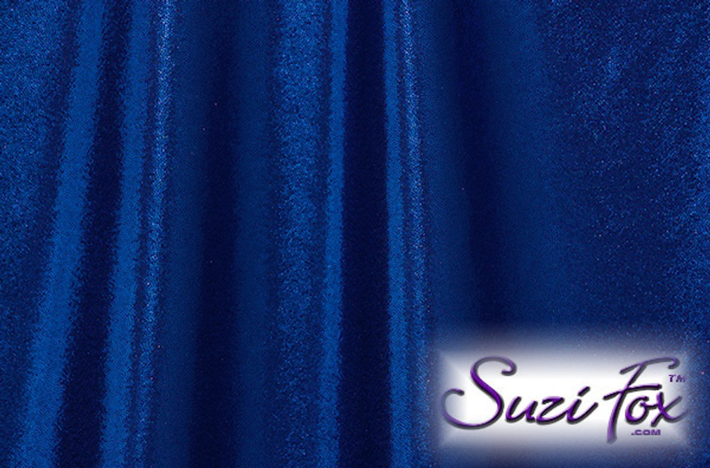 Royal Blue Metallic Mystique Fabric. (per yard price if you want to buy extra is $25 per yard) 80% Nylon, 20% Spandex. Available in black, red, turquoise, green, purple, royal blue, hot pink/fuchsia, baby pink, baby blue, silver, copper, gold Metallic Mystique spandex. This is a 4-way stretch fabric with tiny metallic foil dots bonded to the spandex. Light, thin, airy, very comfortable! Glitters in the light!  Metallic will rub off if rubbed excessively. Hand wash inside out in cold water, line dry. Iron inside out on low heat. Do not bleach.