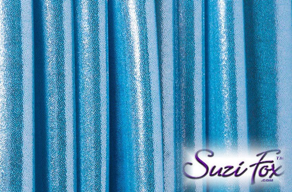 Baby Blue Metallic Mystique Fabric. (per yard price if you want to buy extra is $25 per yard) 80% Nylon, 20% Spandex. Available in black, red, turquoise, green, purple, royal blue, hot pink/fuchsia, baby pink, baby blue, silver, copper, gold Metallic Mystique spandex. This is a 4-way stretch fabric with tiny metallic foil dots bonded to the spandex. Light, thin, airy, very comfortable! Glitters in the light!  Metallic will rub off if rubbed excessively. Hand wash inside out in cold water, line dry. Iron inside out on low heat. Do not bleach.