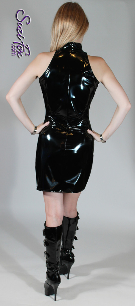 Open Shoulder Mini Dress in Shiny Gloss Black Vinyl/PVC Spandex by Suzi Fox. Zipper in the back. Choose any fabric on this site! Available in black, white, red, navy blue, royal blue, turquoise, purple, fuchsia, neon pink, light pink, matte black (no shine), matte white (no shine) stretch vinyl/PVC coated nylon spandex. • Optional 2-slider zipper going the length of the dress, front or back, unzip from the top of the bottom! • Optional bust cutout. • Optional wrist zippers. Made in the U.S.A.