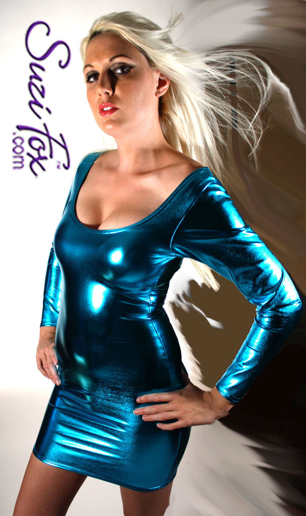 Scoop Neck, Long Sleeved Mini Dress in Turquoise Metallic Foil Spandex, custom made by Suzi Fox. Choose any fabric on this site! Custom made to your measurements. Available in gold, silver, copper, royal blue, purple, turquoise, red, green, fuchsia, gun metal, black metallic foil leather/rubber coated nylon spandex. • Optional wrist zippers. Made in the U.S.A.
