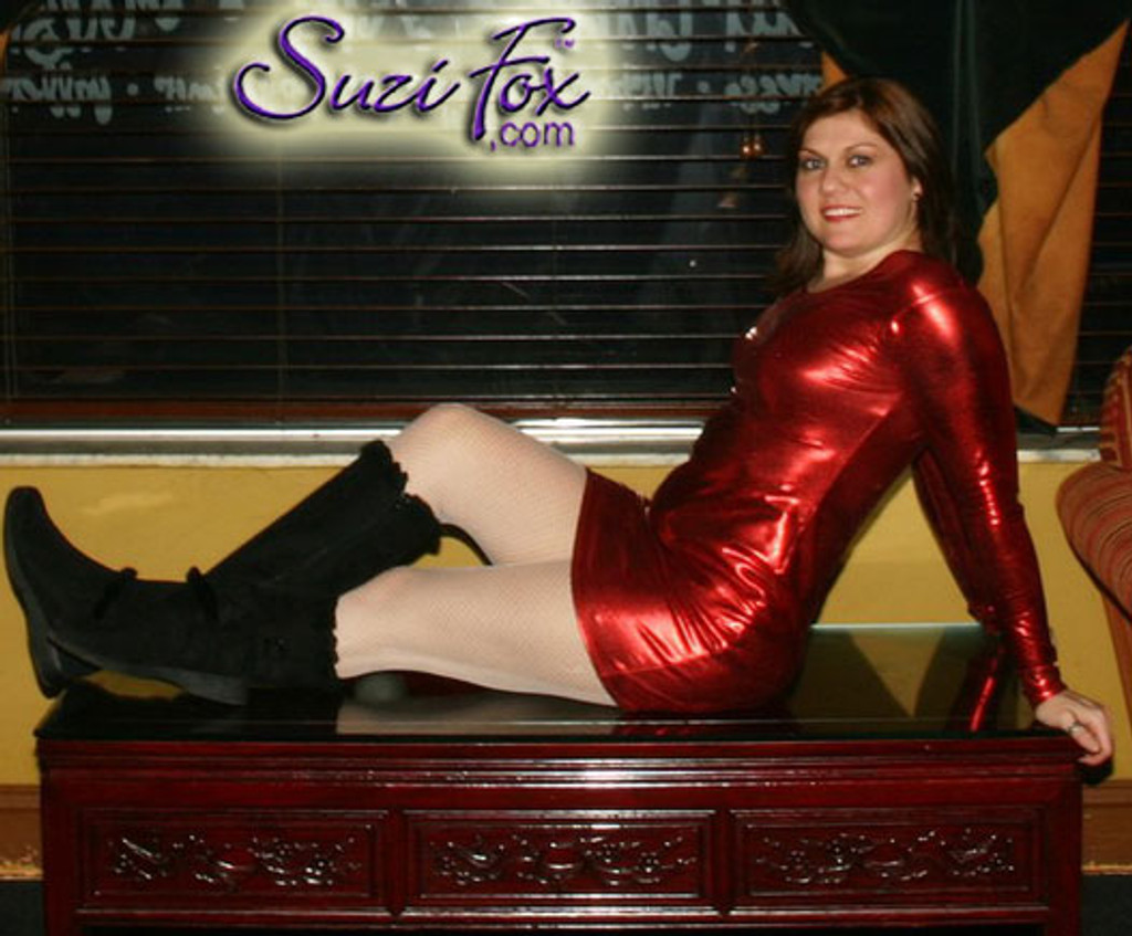 Scoop Neck, Long Sleeved Mini Dress in Red Metallic Foil Spandex, custom made by Suzi Fox. Choose any fabric on this site! Custom made to your measurements. Available in gold, silver, copper, royal blue, purple, turquoise, red, green, fuchsia, gun metal, black metallic foil leather/rubber coated nylon spandex. • Optional wrist zippers. Made in the U.S.A.