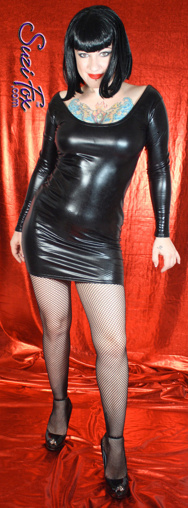 Scoop Neck, Long Sleeved Mini Dress in Black Faux Leather/Rubber Metallic Foil Spandex, custom made by Suzi Fox. Choose any fabric on this site! Custom made to your measurements. Available in gold, silver, copper, royal blue, purple, turquoise, red, green, fuchsia, gun metal, black metallic foil leather/rubber coated nylon spandex. • Optional wrist zippers. Made in the U.S.A.
