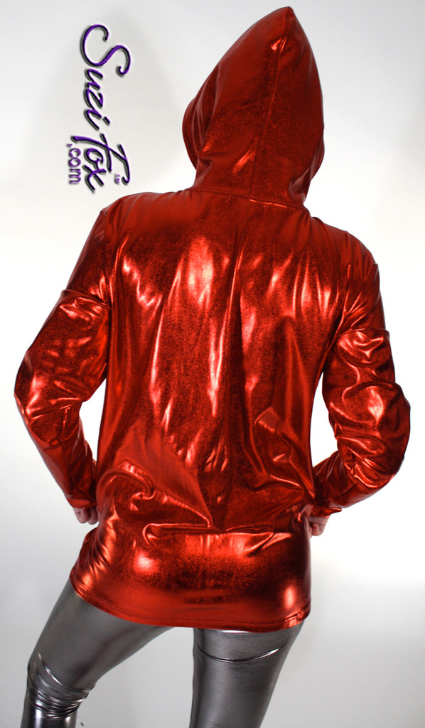 Womens Hoodie in Red Metallic Foil coated Spandex, custom made by Suzi Fox.. Custom made to your measurements! Choose any fabric on this site! Available in gold, silver, copper, gunmetal, turquoise, Royal blue, red, green, purple, fuchsia, black faux leather/rubber. • Choose the zipper. • Optional wrist zippers. Made in the U.S.A.