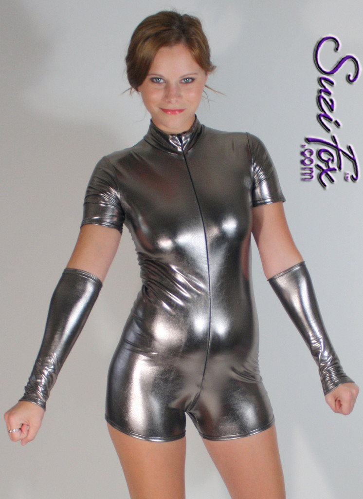 Fingerless Gloves/Arm Guards shown in Gunmetal Stretch Metallic Foil Coated Nylon Spandex by Suzi Fox. Give us your bicep and wrist measurements for a perfect fit! Available in Fuchsia, Gold, Silver, Copper, Gunmetal, Turquoise, Royal Blue, Purple, Red, Green, Black Metallic Foil coated Spandex. Made in the U.S.A.