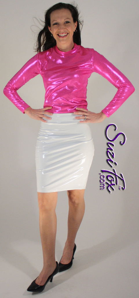 Pencil Skirt shown in White Vinyl/PVC Spandex, custom made by Suzi Fox. Custom made to your measurements! Available in black, white, red, navy blue, royal blue, turquoise, purple, Neon Pink, fuchsia, light pink, matte black (no shine), matte white (no shine), black 3D Prism, red 3D Prism, Turquoise 3D Prism, Baby Blue 3D Prism, Hot Pink 3D Prism, and any other fabric on this site. • Optional belt loops Made in the U.S.A.