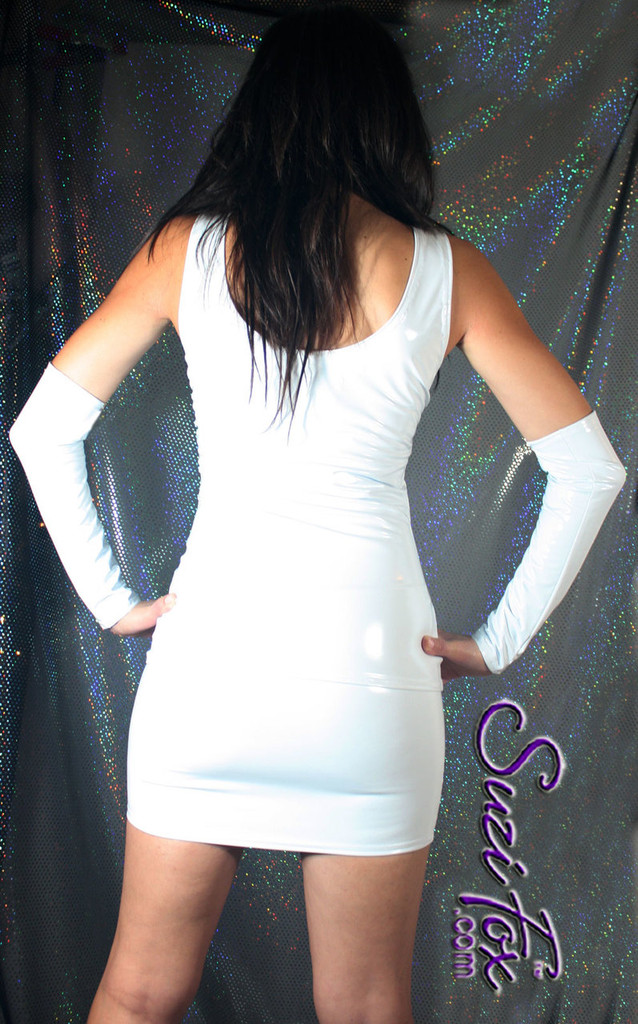 Hiphugger Micro Mini Skirt shown in Gloss White Vinyl/PVC Spandex, custom made by Suzi Fox. Custom made to your measurements! Available in black, white, red, navy blue, royal blue, turquoise, purple, Neon Pink, fuchsia, light pink, matte black (no shine), matte white (no shine), black 3D Prism, red 3D Prism, Turquoise 3D Prism, Baby Blue 3D Prism, Hot Pink 3D Prism, and any other fabric on this site. Made in the U.S.A.
