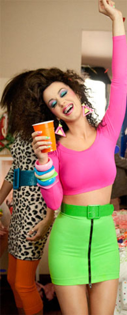 """Front Zipper Skirt shown in Neon Green Shiny Milliskin Tricot Spandex by Suzi Fox. Patterned after Katy Perry's character, Kathy Beth Terry in """"Last Friday Night"""" (T.G.I.F.)."""
