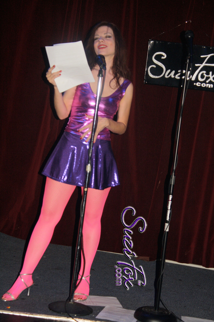 Circle Skirt shown in Purple Metallic Mystique, custom made by Suzi Fox. Custom made to your measurements! Available in black, red, turquoise, green, purple, royal blue, hot pink/fuchsia, silver, copper, gold Metallic Mystique spandex, and any other fabric on this site. Made in the U.S.A.