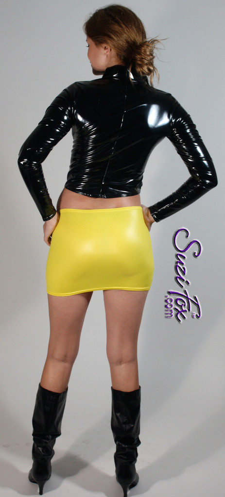 Hiphugger Micro Mini Skirt shown in Yellow Wet Look Lycra Spandex, custom made by Suzi Fox. Custom made to your measurements! Available in Wet Look black, white, red, turquoise, navy blue, royal blue, hot pink, lime green, green, yellow, steel gray, neon orange, and any other fabric on this site. Made in the U.S.A.