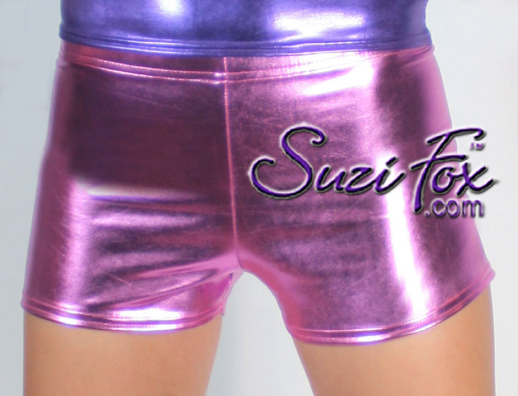Women's Boy Shorts shown in Fuchsia Metallic Foil coated Spandex, custom made by Suzi Fox. Custom made to your measurements! Available in gold, silver, copper, gunmetal, turquoise, Royal blue, red, green, purple, fuchsia, black faux leather/rubber, and any other fabric on this site. • 1 inch elastic at the waist. • Optional 1 or 2-slider crotch zippers. • Optional rear patch pockets. • Optional Belt Loops. Made in the U.S.A.