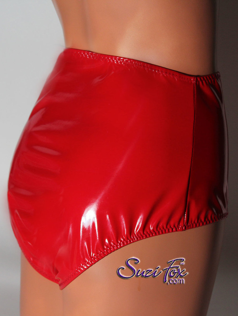 Gussett Panties, Waist High, shown in Gloss Red Vinyl/PVC Spandex, custom made by Suzi Fox. Custom made to your measurements! • Choose your front rise! Available in black, white, red, navy blue, royal blue, turquoise, purple, Neon Pink, fuchsia, light pink, matte black (no shine), matte white (no shine), black 3D Prism, red 3D Prism, Turquoise 3D Prism, Baby Blue 3D Prism, Hot Pink 3D Prism, and any other fabric on this site. Made in the U.S.A.