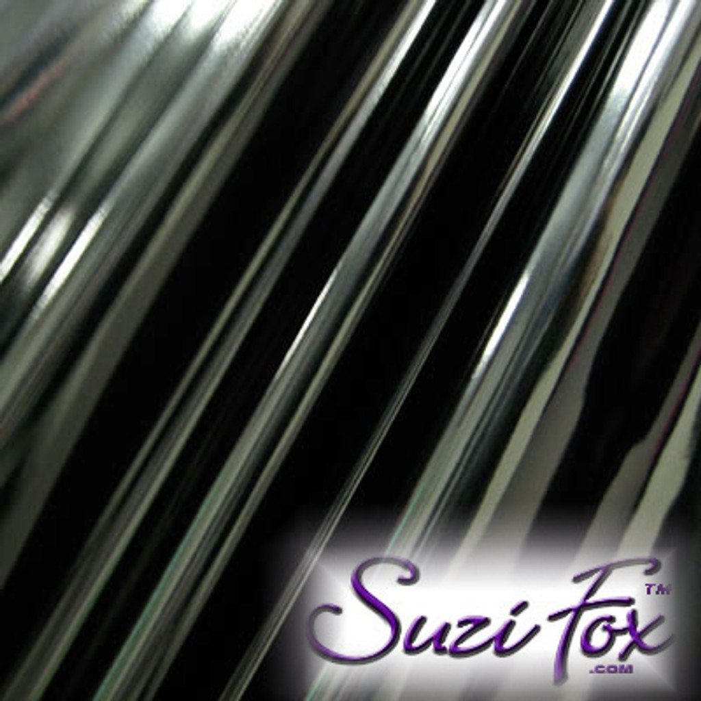 """Black Gloss Vinyl/PVC.  Four Way Stretch. 80% Nylon, 20% Spandex.  Polyurethane coated. Very glossy! This fabric is very tight, 4-way stretch with about a 2"""" stretch. It will hide minor cellulite and hold in small love handles. Vinyl will separate from backing if worn too tight or if rubbed excessively. If you like PVC, you will LOVE this fabric! It's also a great alternative to latex.   Available in black, white, red, navy blue, royal blue, turquoise, purple, Neon Pink, fuchsia, light pink, matte black (no shine), matte white (no shine), black 3D Prism, red 3D Prism, Turquoise 3D Prism, Baby Blue 3D Prism, Hot Pink 3D Prism.  Hand wash inside out in cold water, line dry. Iron inside out on low heat. Do not bleach."""