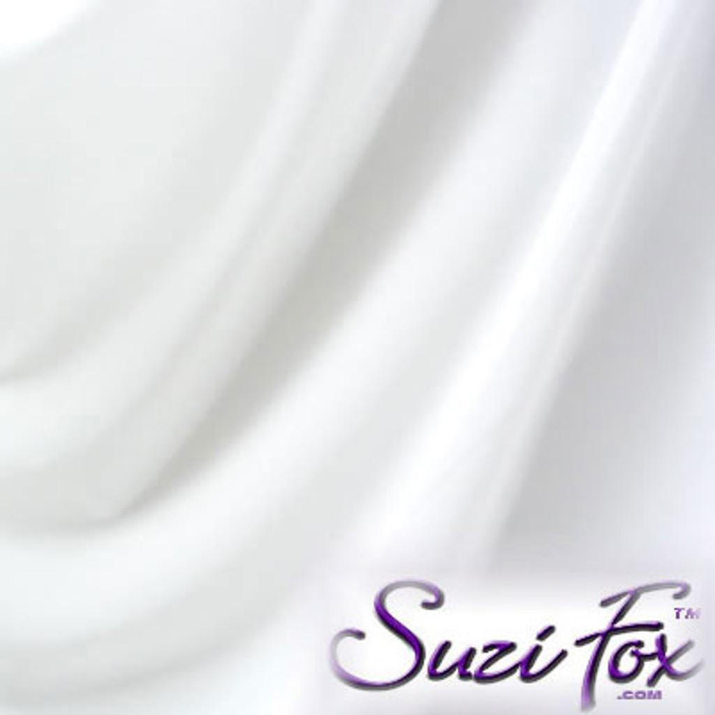 """White Matte (no shine) Vinyl/PVC. Looks like leather. Four Way Stretch. 80% Nylon, 20% Spandex.  Polyurethane coated. This fabric is very tight, 4-way stretch with about a 2"""" stretch. It will hide minor cellulite and hold in small love handles. Vinyl will separate from backing if worn too tight or if rubbed excessively.   Available in matte black (no shine), matte white (no shine), black, gloss black, white, red, navy blue, royal blue, turquoise, purple, Neon Pink, fuchsia, light pink,  3D Prism, red 3D Prism, Turquoise 3D Prism, Baby Blue 3D Prism, Hot Pink 3D Prism.  Hand wash inside out in cold water, line dry. Iron inside out on low heat. Do not bleach."""