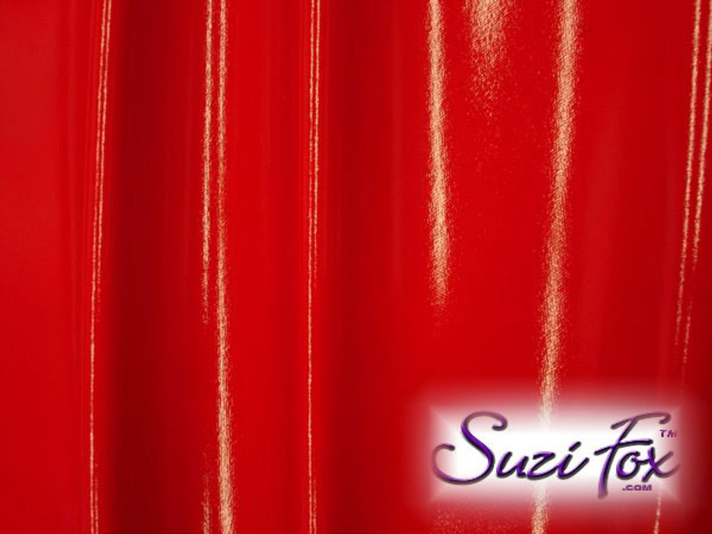 """Red Gloss Vinyl/PVC.  Four Way Stretch. 80% Nylon, 20% Spandex.  Polyurethane coated. Very glossy! This fabric is very tight, 4-way stretch with about a 2"""" stretch. It will hide minor cellulite and hold in small love handles. Vinyl will separate from backing if worn too tight or if rubbed excessively. If you like PVC, you will LOVE this fabric! It's also a great alternative to latex.   Available in black, white, red, navy blue, royal blue, turquoise, purple, Neon Pink, fuchsia, light pink, matte black (no shine), matte white (no shine), black 3D Prism, red 3D Prism, Turquoise 3D Prism, Baby Blue 3D Prism, Hot Pink 3D Prism.  Hand wash inside out in cold water, line dry. Iron inside out on low heat. Do not bleach."""