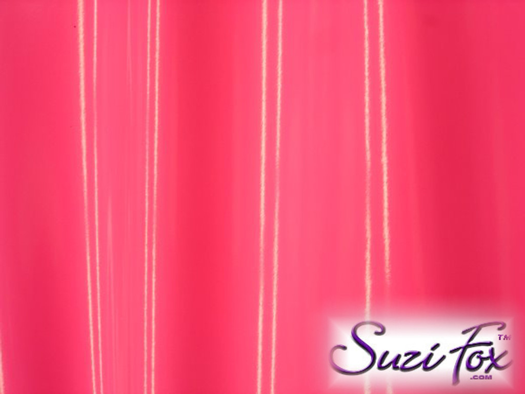 """Neon Pink Gloss Vinyl/PVC.  Four Way Stretch. 80% Nylon, 20% Spandex.  Polyurethane coated. Very glossy! This fabric is very tight, 4-way stretch with about a 2"""" stretch. It will hide minor cellulite and hold in small love handles. Vinyl will separate from backing if worn too tight or if rubbed excessively. If you like PVC, you will LOVE this fabric! It's also a great alternative to latex.   Available in black, white, red, navy blue, royal blue, turquoise, purple, Neon Pink, fuchsia, light pink, matte black (no shine), matte white (no shine), black 3D Prism, red 3D Prism, Turquoise 3D Prism, Baby Blue 3D Prism, Hot Pink 3D Prism.  Hand wash inside out in cold water, line dry. Iron inside out on low heat. Do not bleach."""