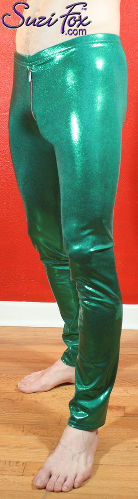 Mens Hiphugger Boot Cut Pants shown in Green Metallic Mystique Spandex, custom made by Suzi Fox. Shown with optional 2-slider crotch zipper. Custom made to your measurements! • Available in black, red, turquoise, green, purple, royal blue, hot pink/fuchsia, silver, copper, gold Metallic Mystique spandex, and any fabric on this site. • 1 inch no-roll elastic at the waist. • Optional 1 or 2-slider crotch zipper. • Choose your ankle size - tight ankles, jean cut, boot cut, or bellbottom. • Optional ankle zippers. • Optional belt loops. • Optional rear patch pockets. Made in the U.S.A.